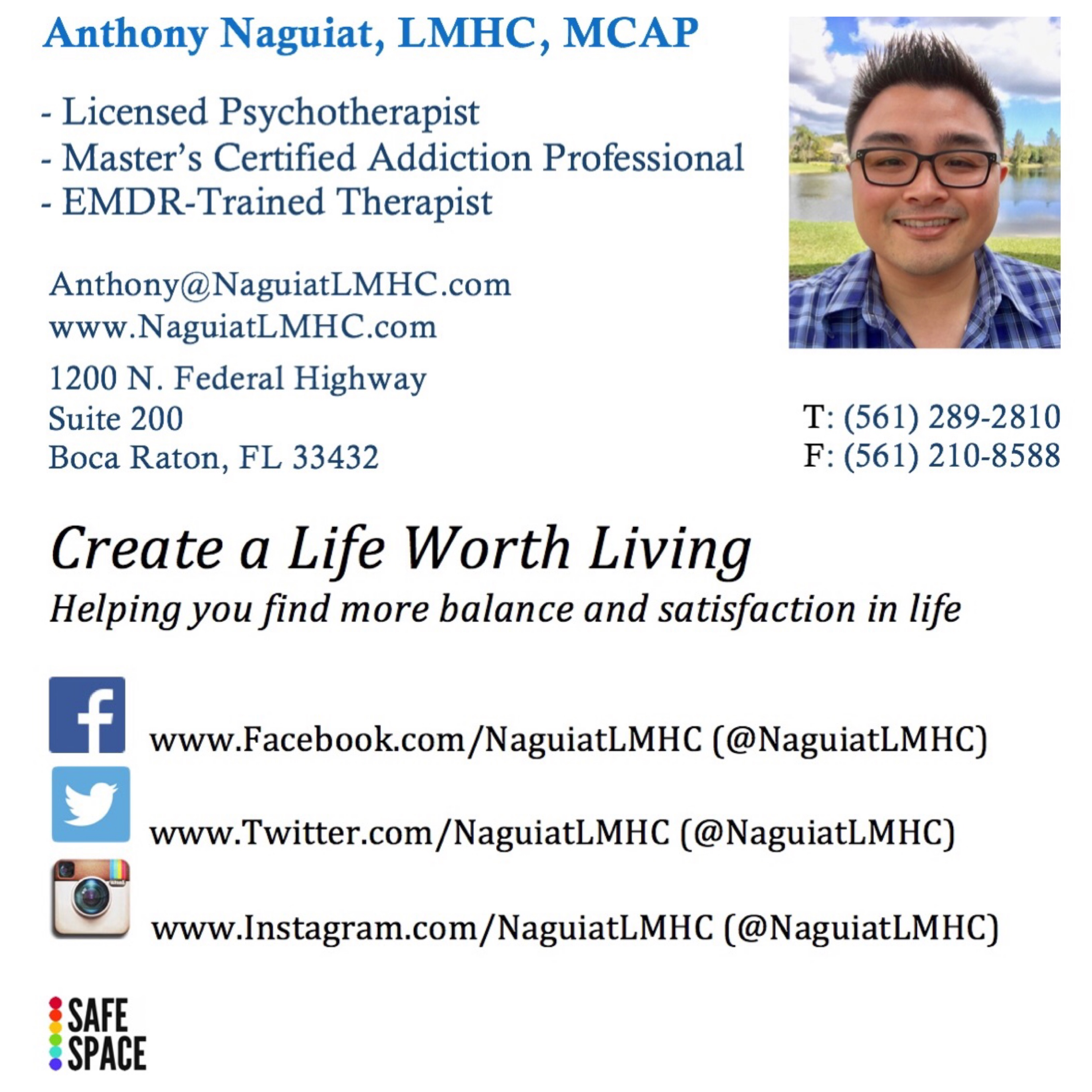 Anthony Naguiat LMHC MCAP - EMDR and Trauma Therapy in Boca Raton, FL